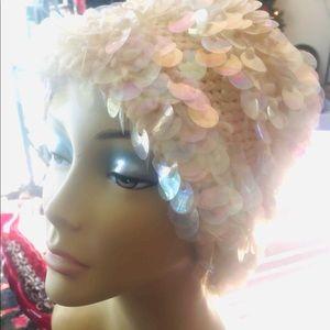 Vintage Ivory Knit Opalescent Bubble Sequin Hat